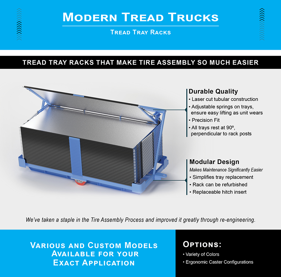 Modern Tread Trucks, tread racks, tire manufacturing equipment, replaceable trays